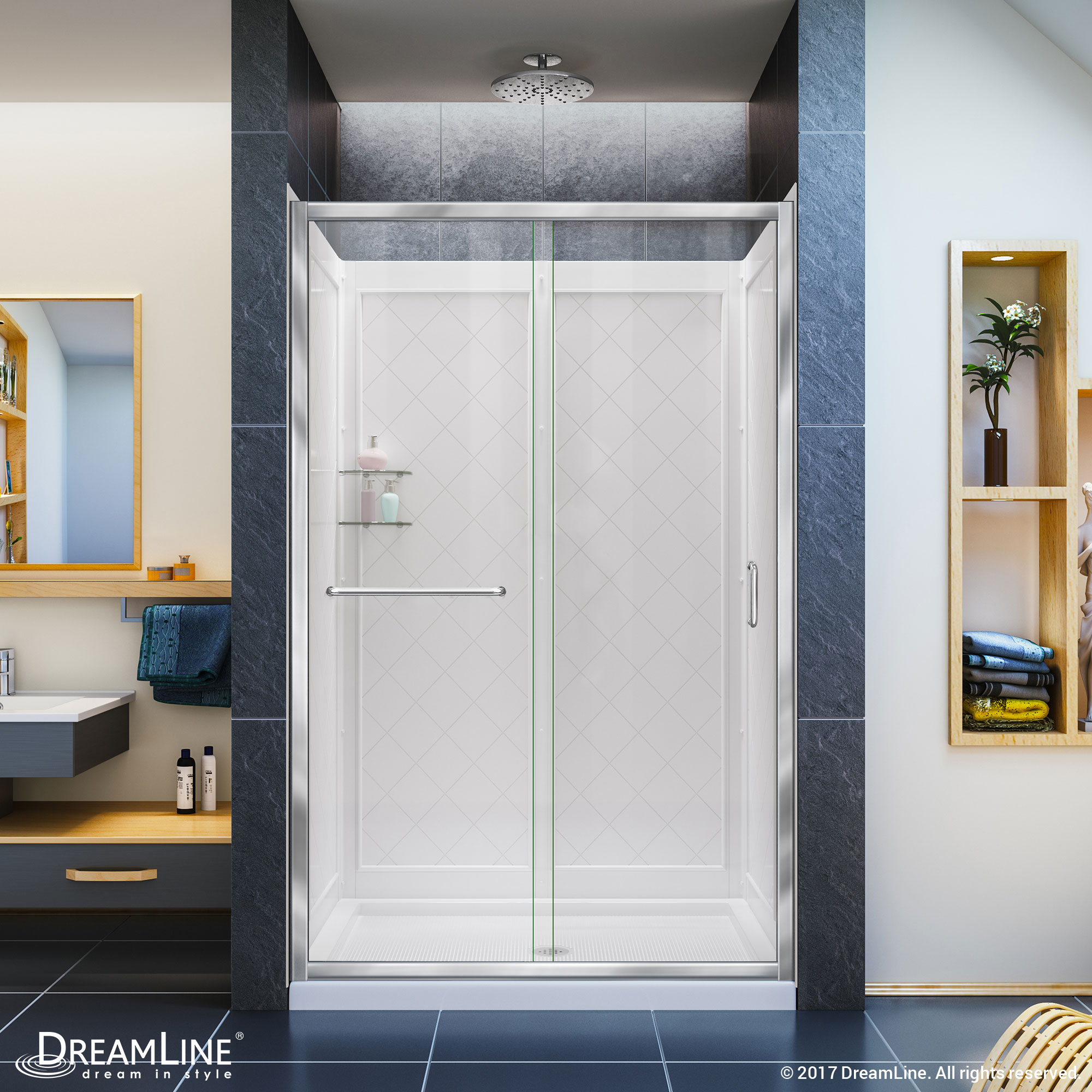 Infinity z clear sliding shower door in chrome with center for Bathroom entrance doors