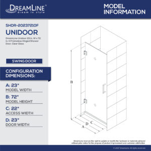 Unidoor 23 to 30 Hinged Shower Door (23 – 26 in.) Clear Glass Door