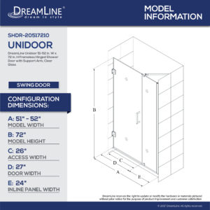 Unidoor 47 to 55 Hinged Shower Door (51 – 55 in.)