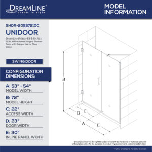 Unidoor 53 to 61 Hinged Shower Door (53 – 56 in.)