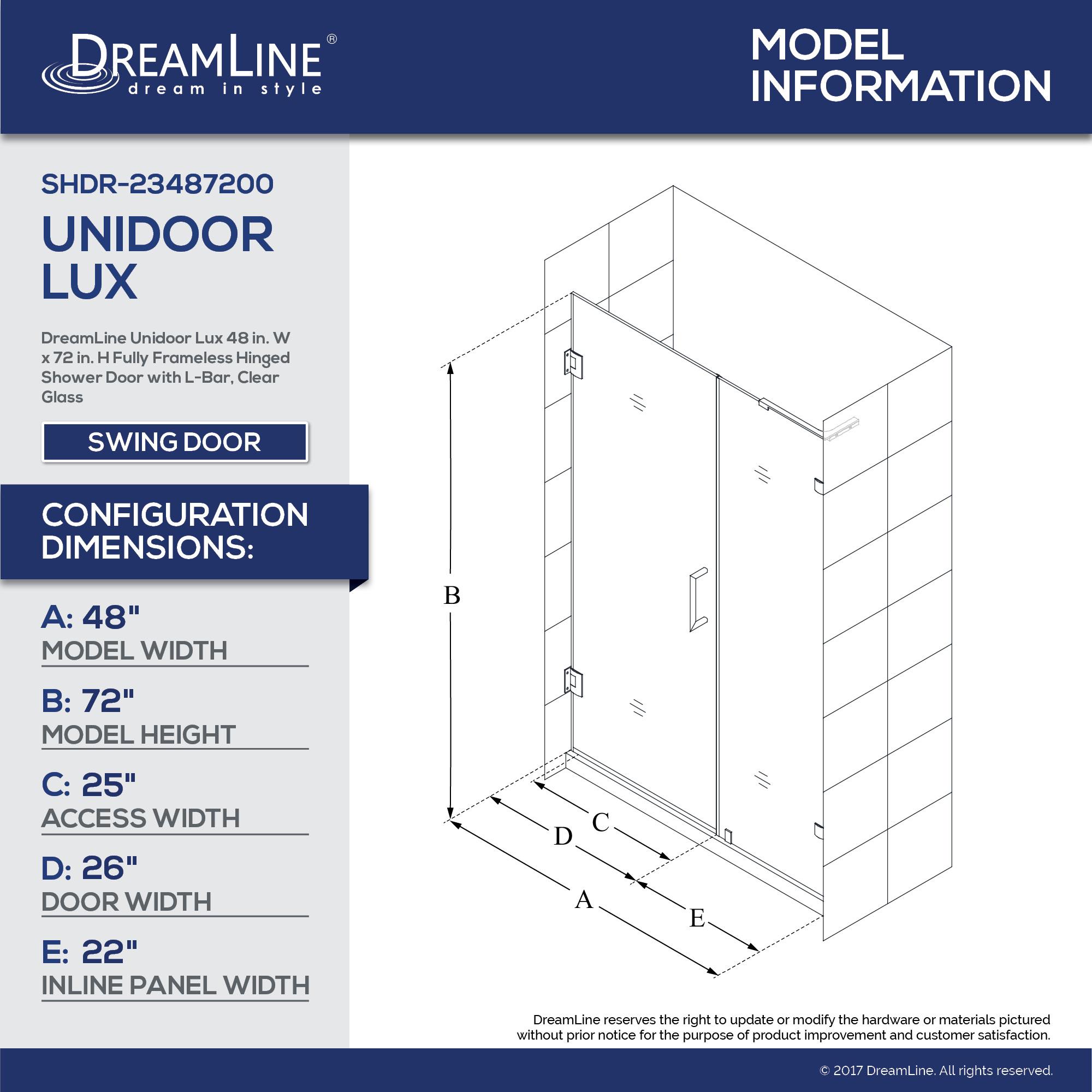 Unidoor Lux Shower Door With L Bar 22 Inline Panel 45 48 In