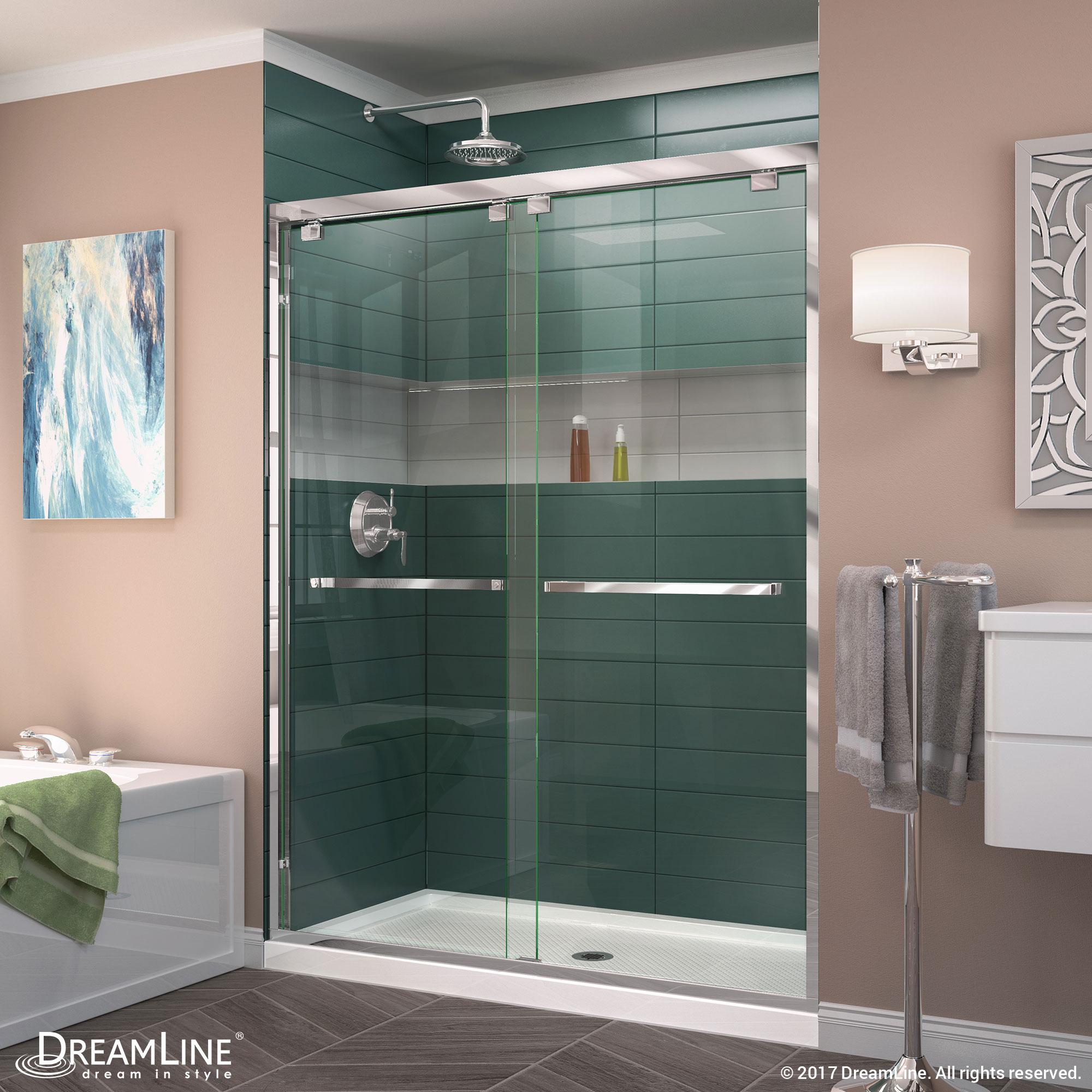 Encore Semi Frameless Shower Door And Base Center Drain White Base 30 36 In D