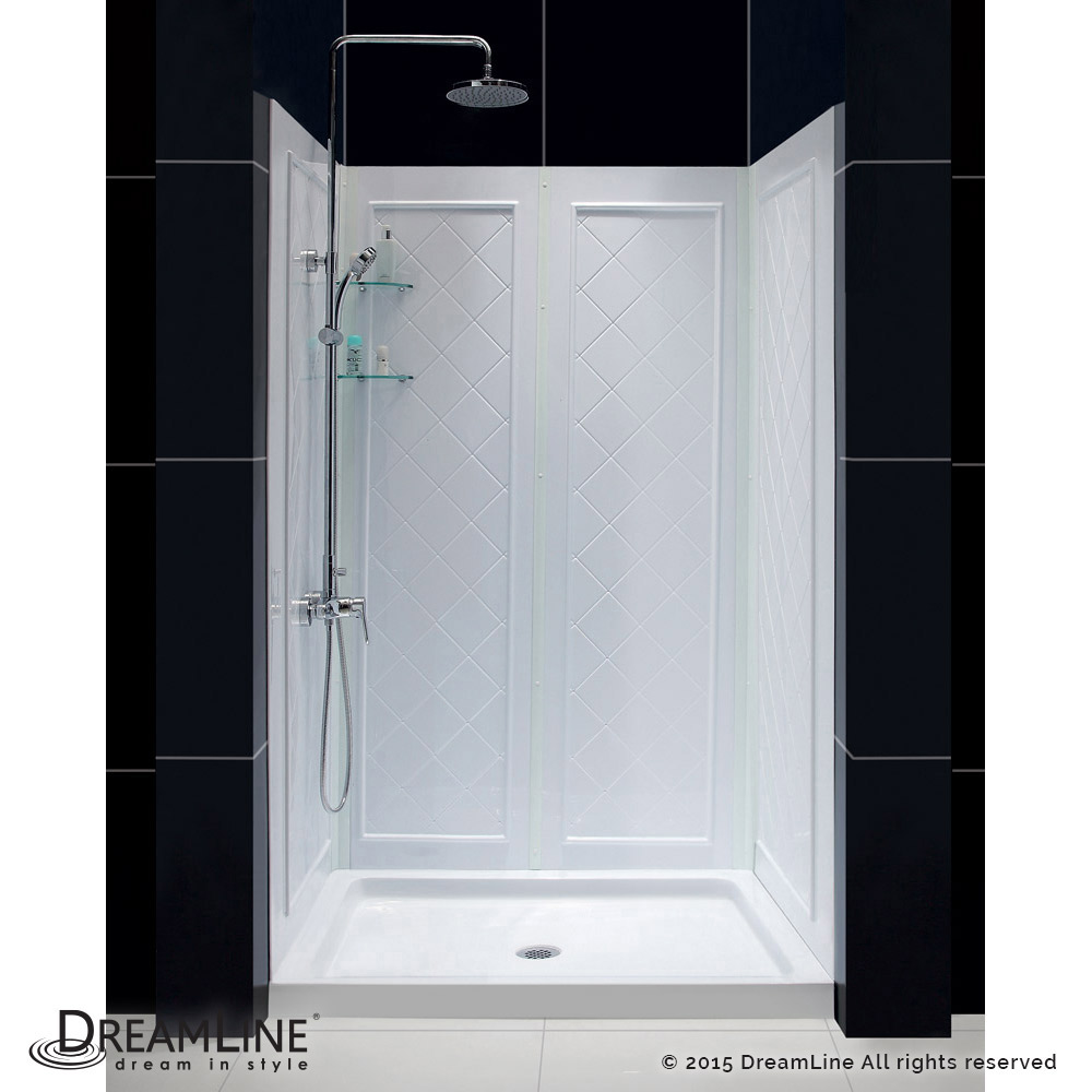 Infinity Z Clear Sliding Shower Door In Chrome With Center Drain
