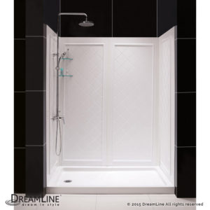 Infinity-Z Frosted Sliding Shower Door in Chrome with Center Drain White Base and Backwall