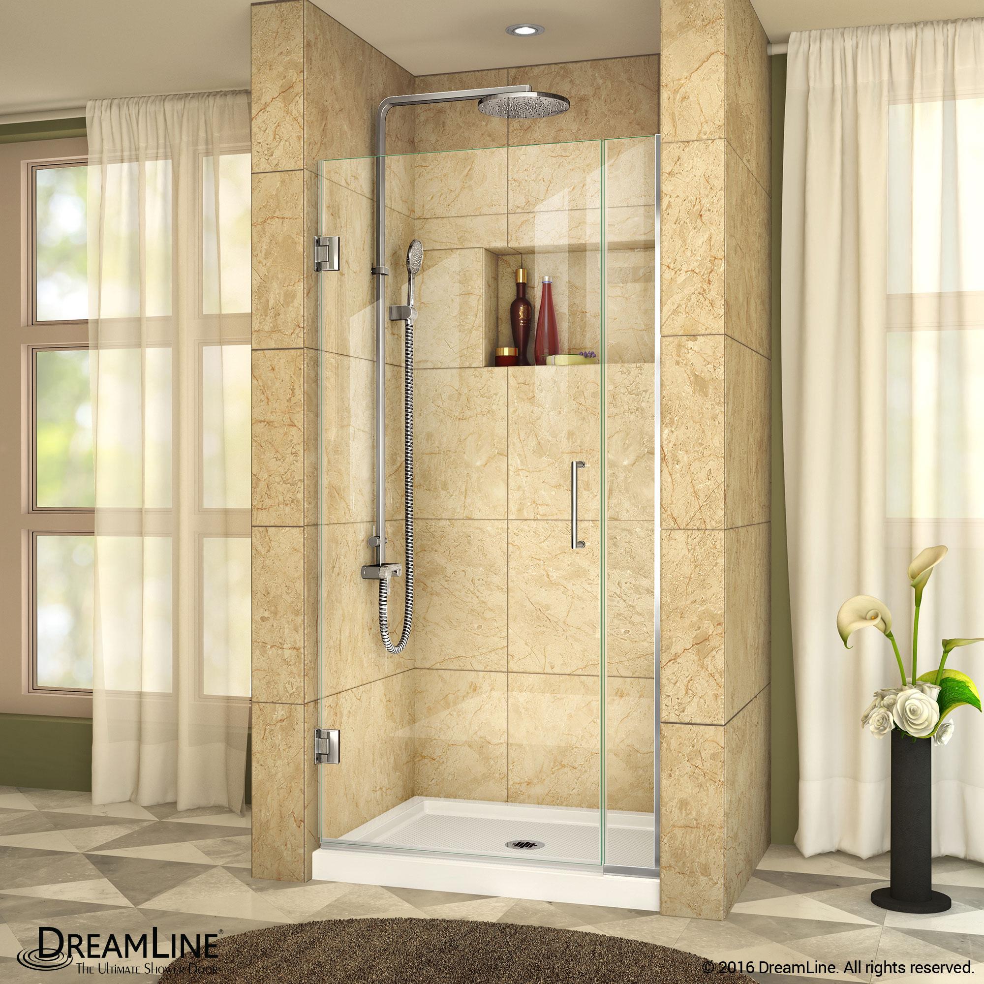 Unidoor Plus Shower Door 6 12 In Inline Panel Clear Glass 33 1