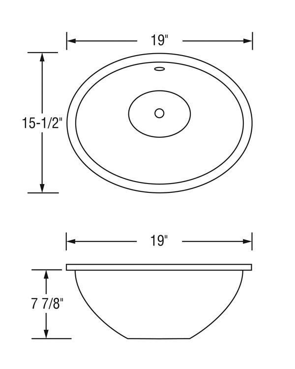 Vitreous china bathroom sinks vcs 1915 actt kitchen bath for Standard bathroom sink dimensions